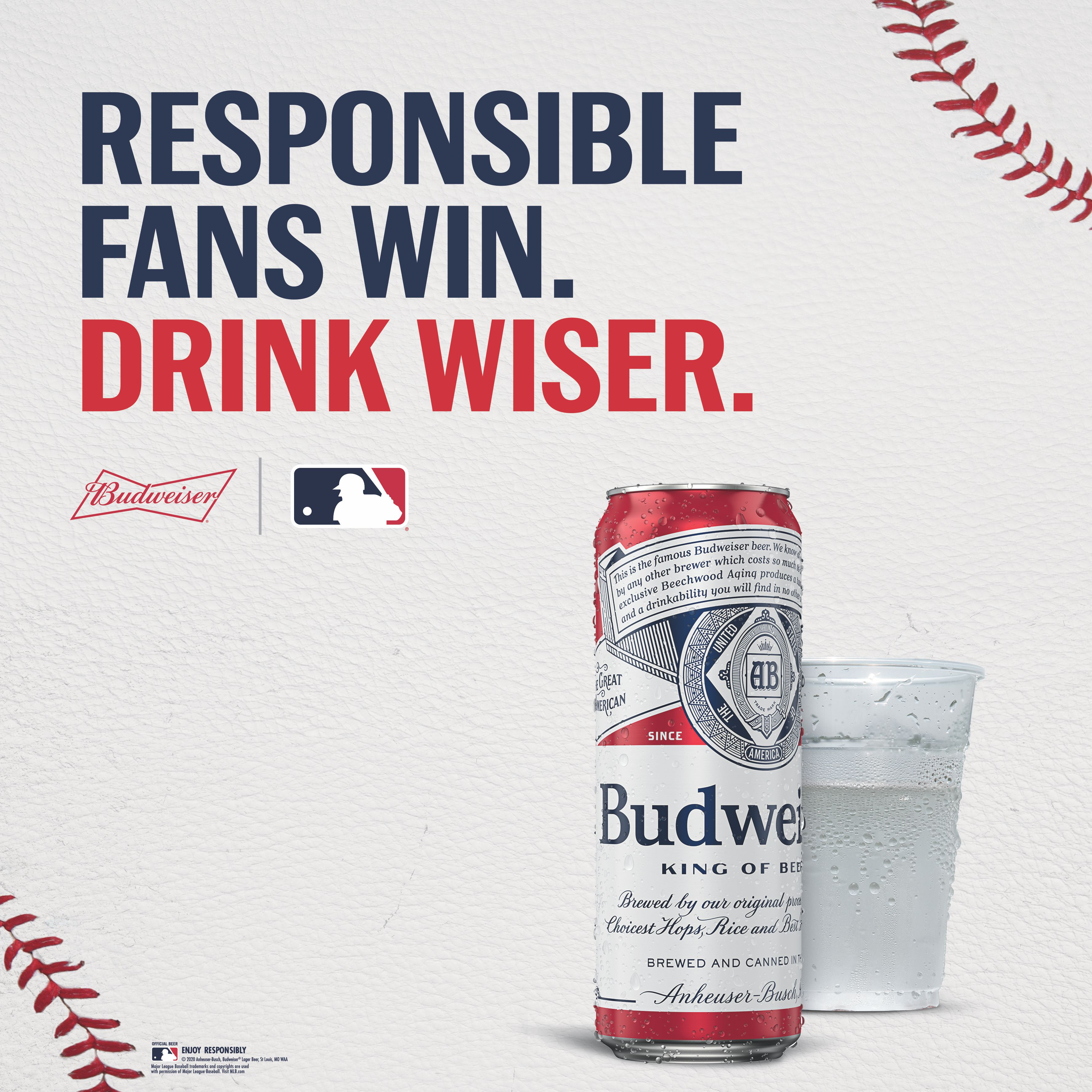Budweiser beer with the caption responsible fans win. Dink wiser.